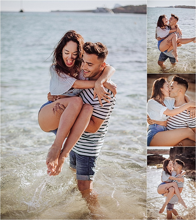 Ibiza engagement shoot beach engagement couple play in the water by Wild Connections Photography
