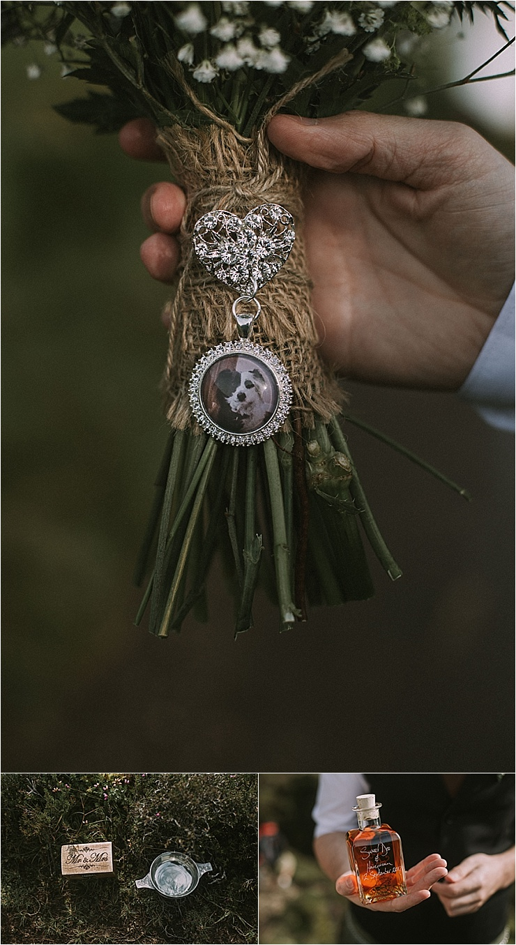 Isle of Skye elopement details with bouquet and whisky by Maureen Du Preez