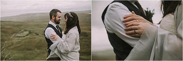 Bride and groom with a blanket to keep warm for their Isle of Skye elopement