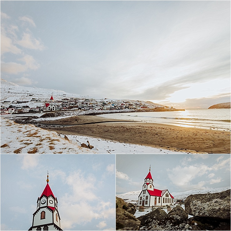The town of Sandavagur and it's red church in the Faroe Islands on the adventure wedding blog We Are The Wanderers