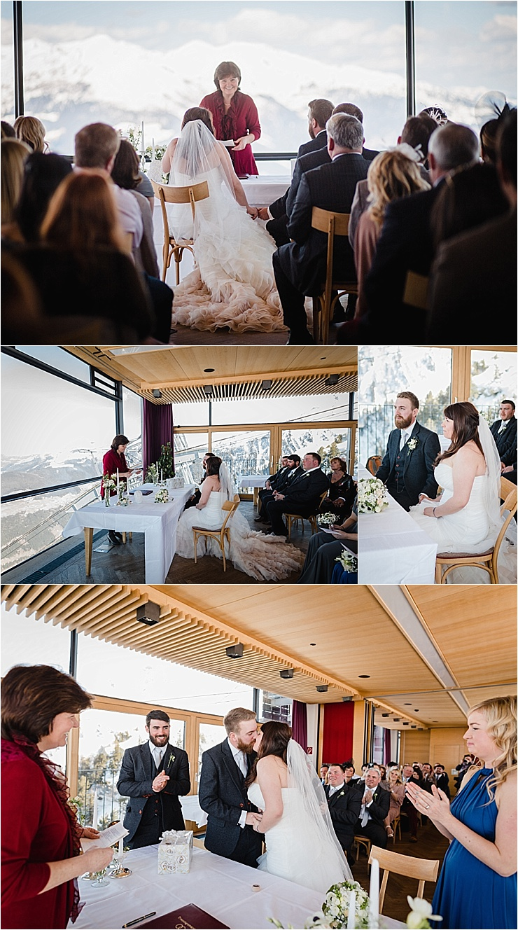 A panoramic view of the mountains for the wedding guests for this ski wedding in the Alps by Wild Connections Photography