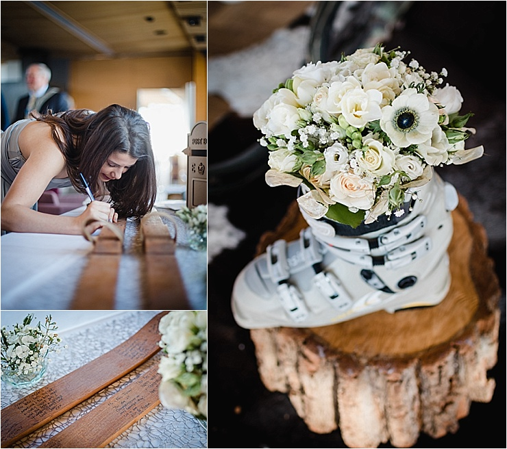 Ski themed details and a vintage ski guestbook for this ski wedding by Wild Connections Photography