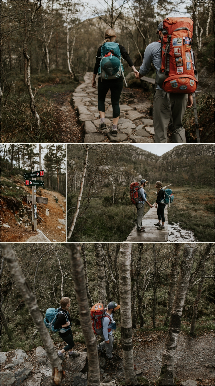 Becky & Tyler hike through the woods to Preikestolen in Norway by Aspen Jeanne Photography