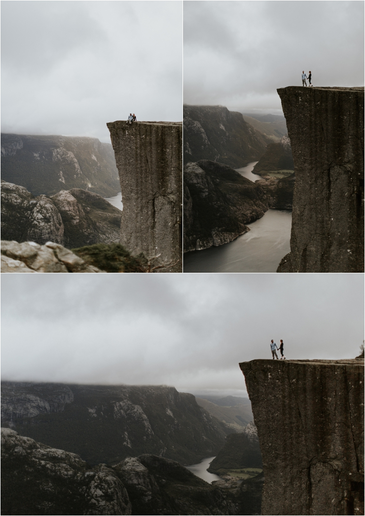 Becky and Tyler enjoy the view of the fjord from pulpit rock in Norway by Aspen Jeanne Photography