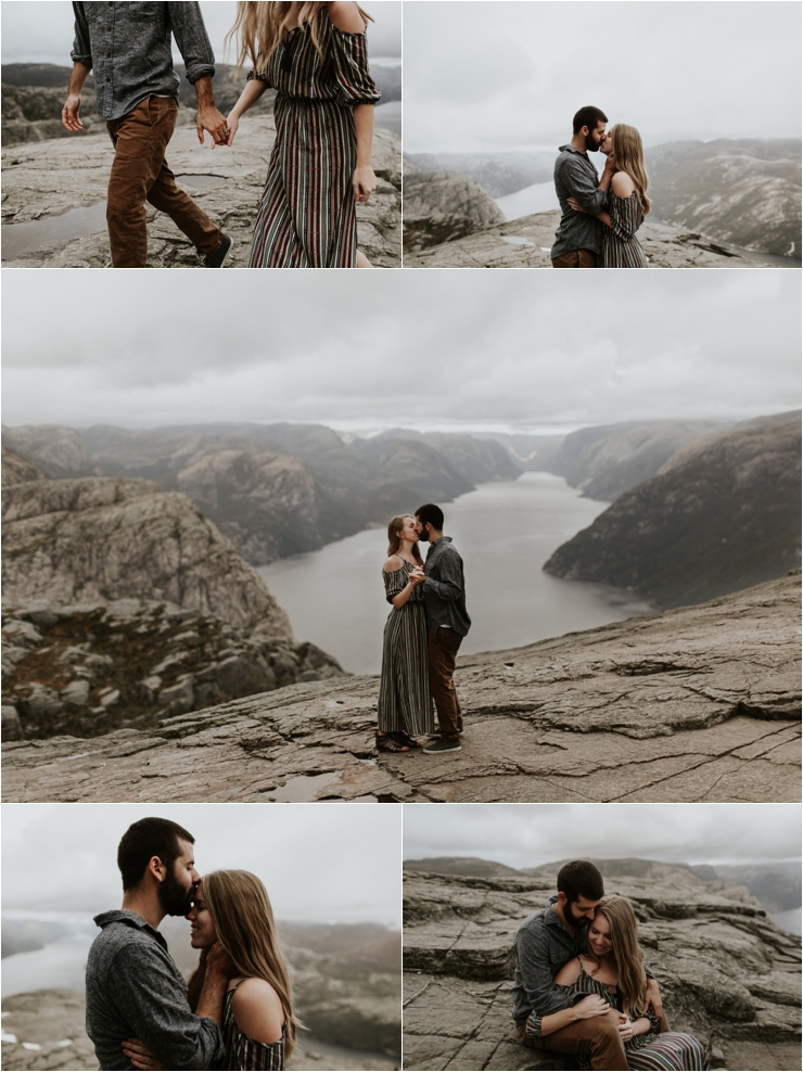 Becky and Tyler embrace on the top of pulpit rock during the anniversary shoot in Norway by Aspen Jeanne Photography