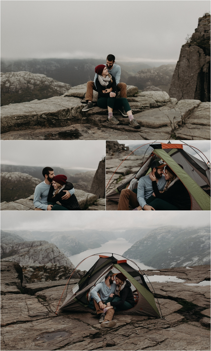 Becky and Tyler wrap up warm after their hike to Preikestolen in Norway by Aspen Jeanne Photography