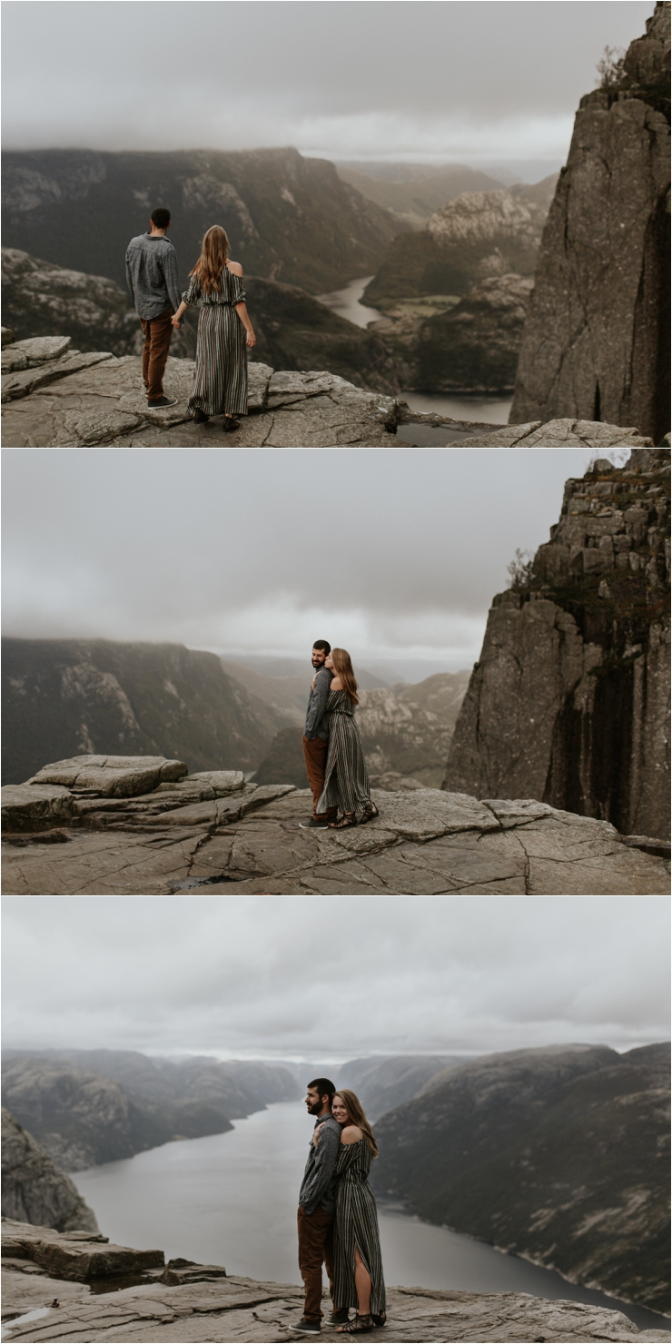 Becky & Tyler enjoying the last views of the sunset on pulpit rock in Norway by Aspen Jeanne Photography