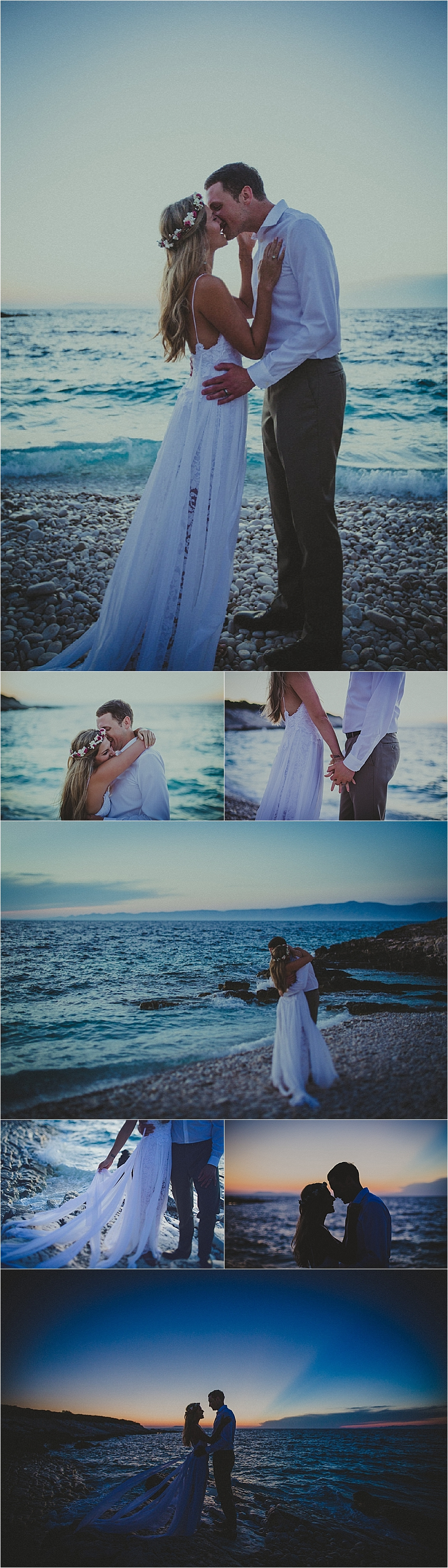 Sunset portraits on the beach on a remote island in Croatia by Matija Kljunak Weddings