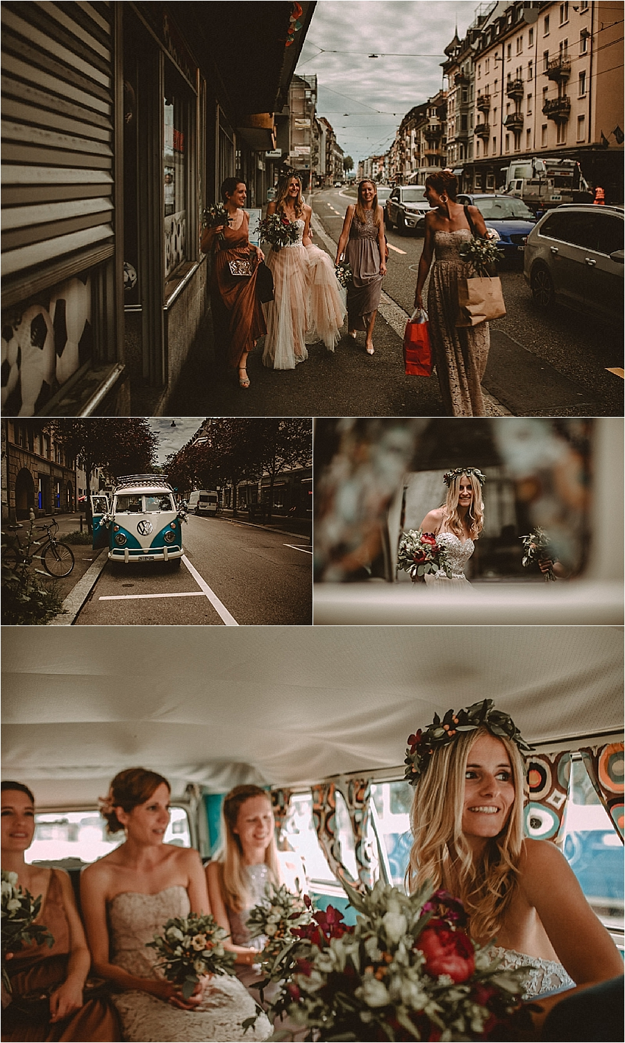VW bus wedding transport for the bride and bridesmaids for this wedding in Switzerland by Bring Me Somewhere Nice