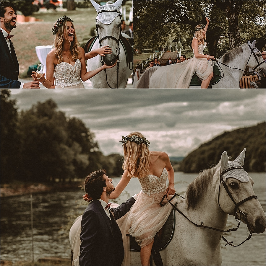 The bride leaves the ceremony on horseback after their wedding in Switzerland by Bring Me Somewhere Nice