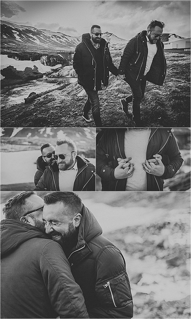 LGBTQ couple embraces & laughs during their Snaefellsnes Peninsula Iceland Engagement Session by Zakas Photography