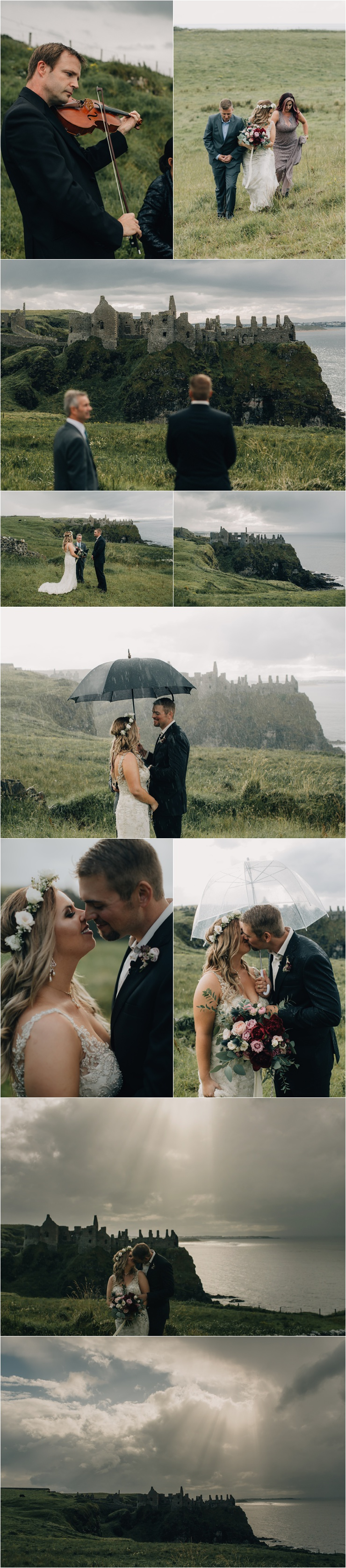 An elopement at Dunluce Castle in the rain by Paula O'Hara
