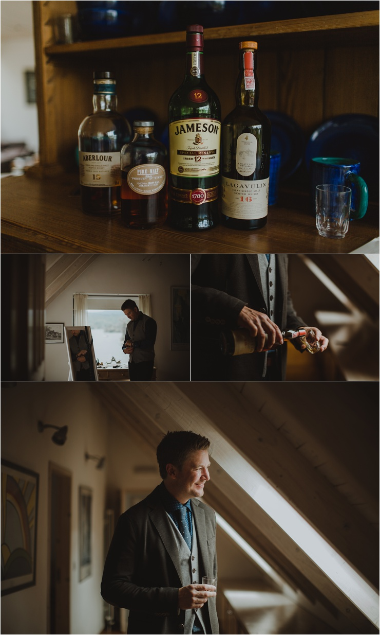 Groom calms his nerves with some whisky before his wedding in Glengarriff in West Cork by Paula O'Hara Photography
