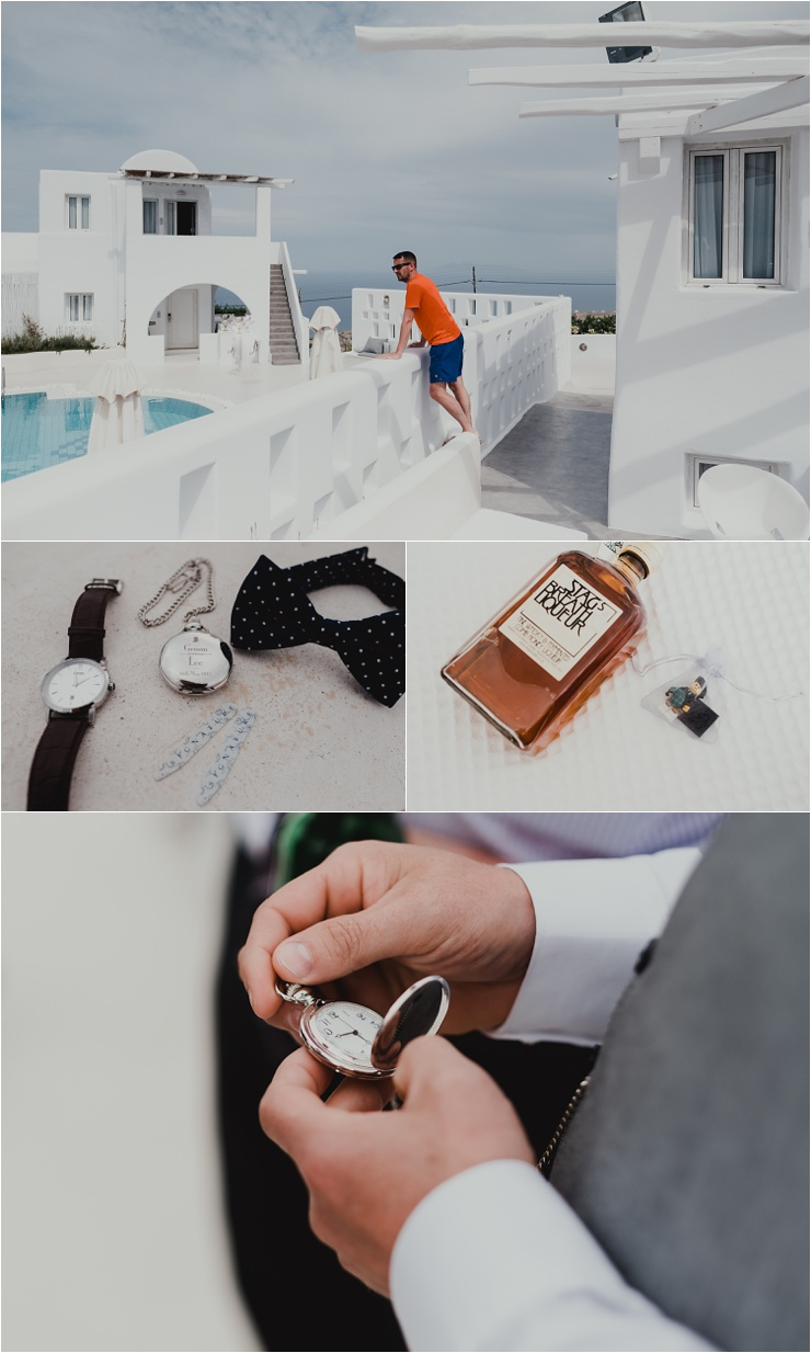 Groom pre-wedding preparations for a Santorini destinatino wedding by Tara Lilly Photography