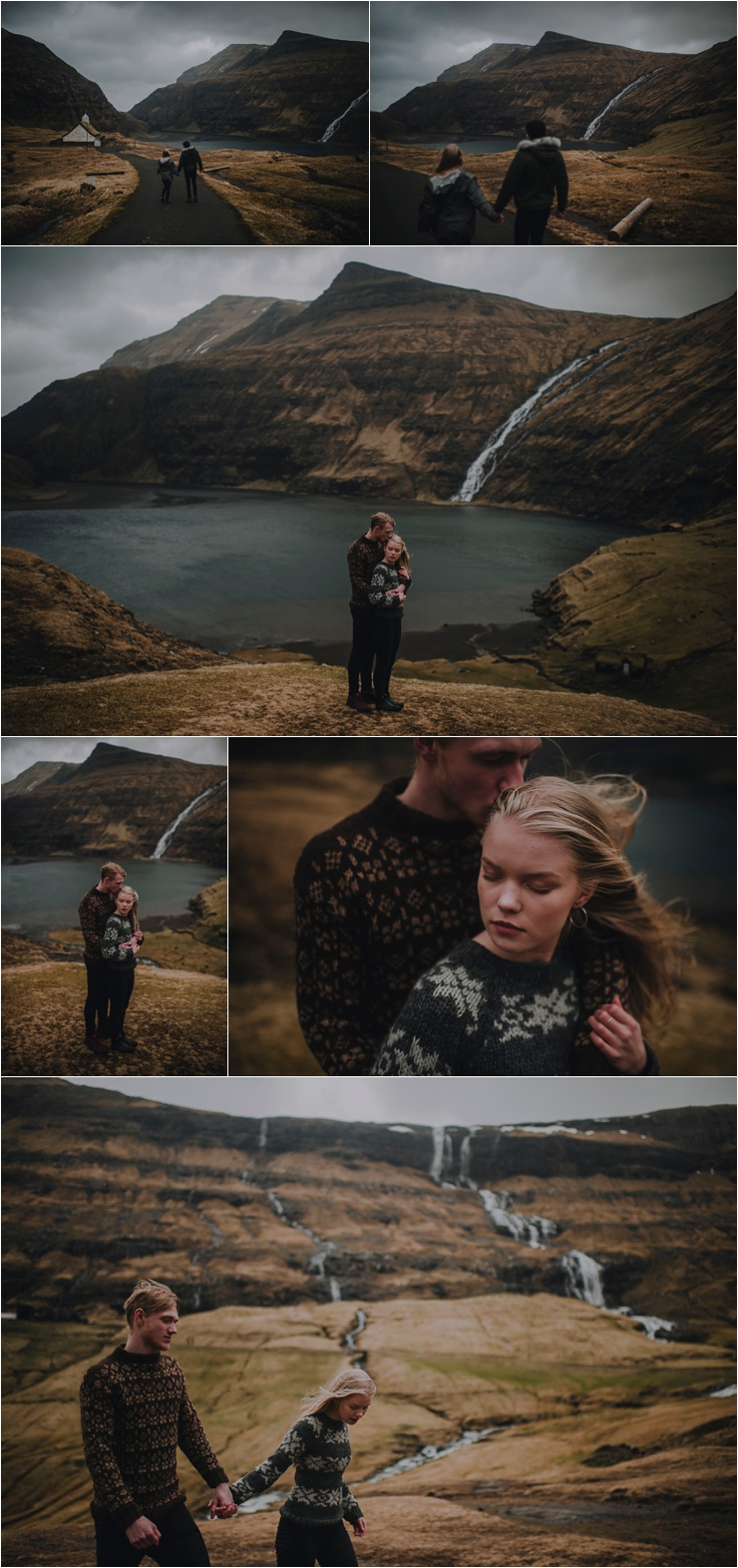 A dramatic couple shoot in the Faroe Islands by Barefoot + Bearded Photography