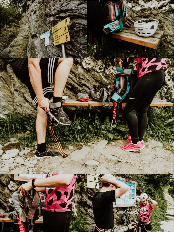 Couple puts on climbing harnesses for a climbing couple shoot in Austria by Wild Connections Photography