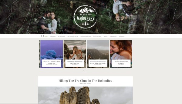 Screen grab of We Are The Wanderers homepage