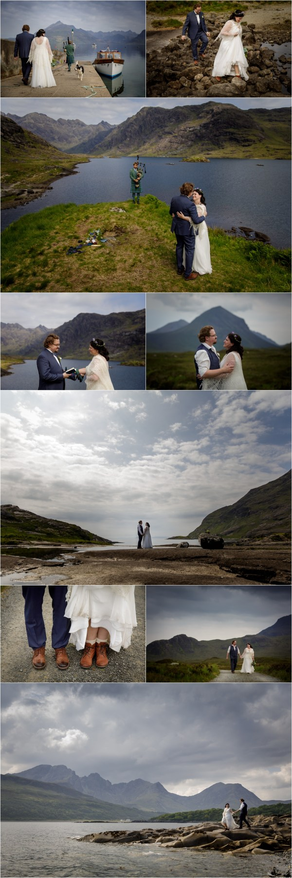 Collage of images for a Loch Coruisk elopement on the Isle of Skye by Lynne Kennedy Photography