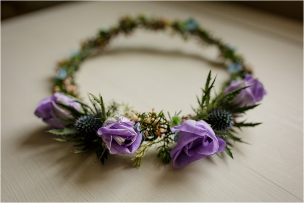 A flower crown for this Loch Coruisk Elopement On The Isle Of Skye by Lynne Kennedy Photography
