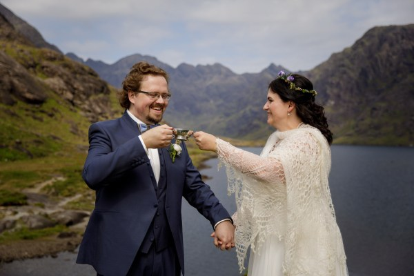 Jürgen and Tina drink whisky to celebrate their marriage by Lynne Kennedy Photography