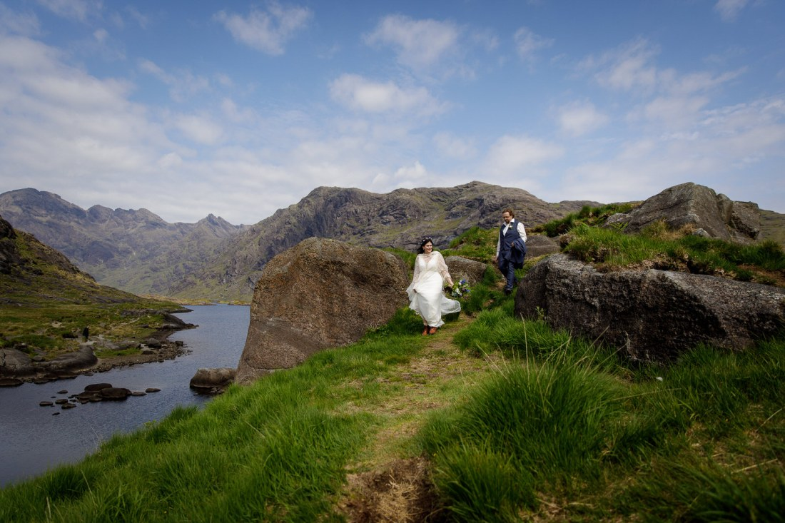 Tina & Jürgen walk arounf the edge of Loch Coruisk by Lynne Kennedy Photography
