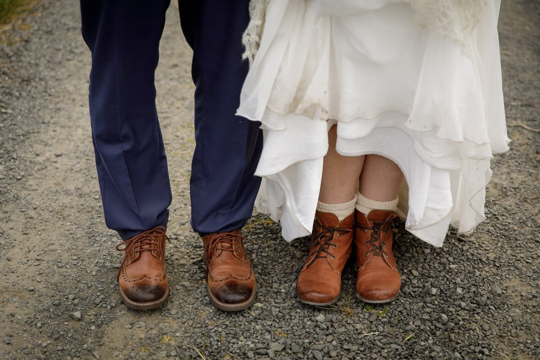 Hiking boots for the bride and groom for their Isle of Skye elopement by Lynne Kennedy Photography