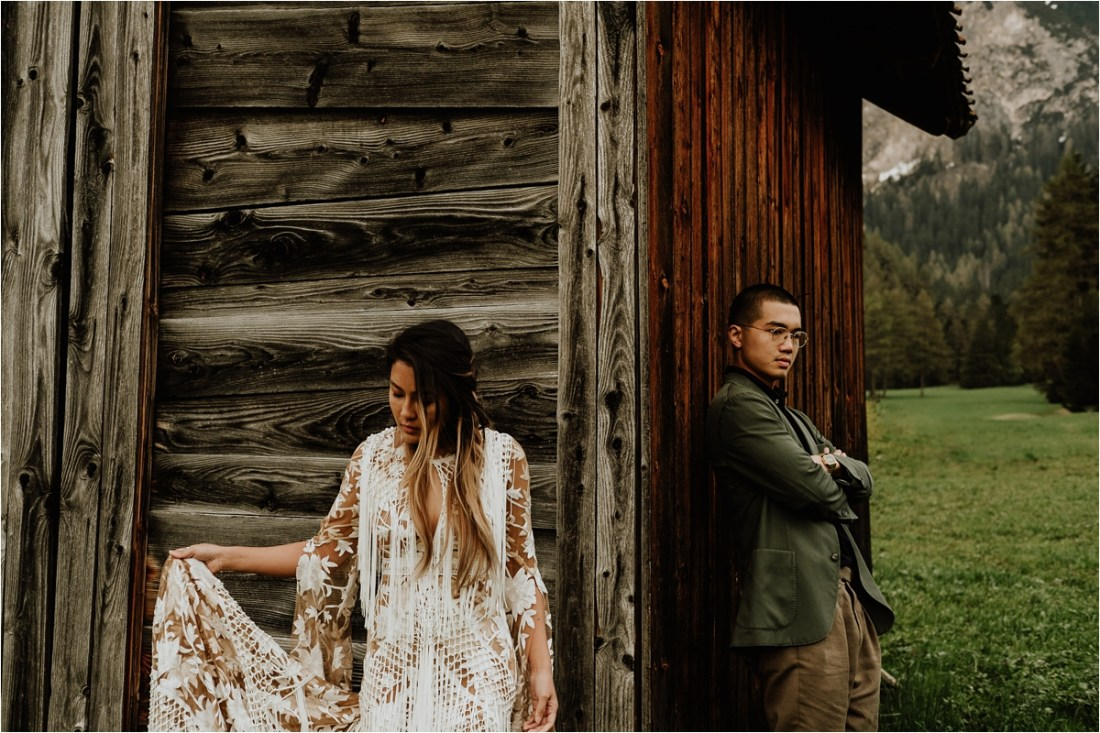 Christina & Ted find a wooden farmers hut in the Dolomites by Wild Connections Photography