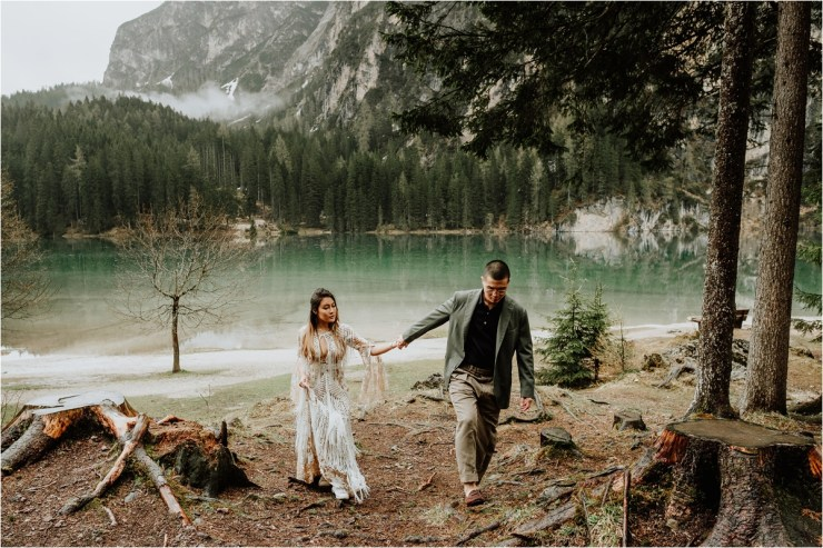 Pre-wedding shoot at Lago Di Braies in the Dolomites by Wild Connections Photography