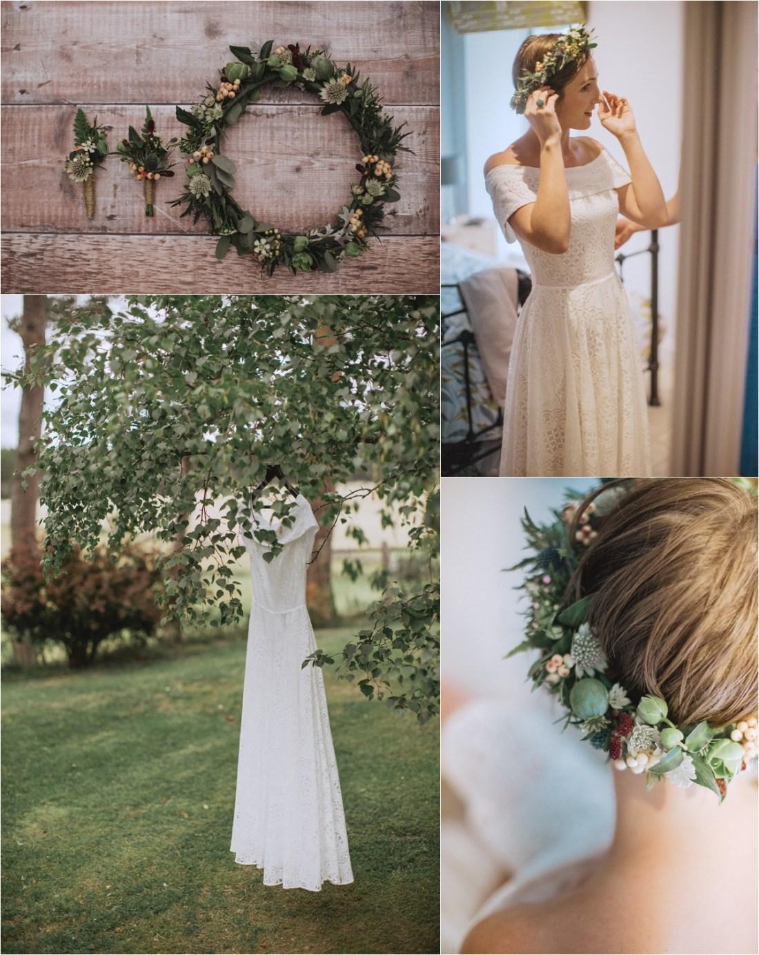 Bohemian bridal details for a DIY sheep farm wedding by Fox & Bear Photography