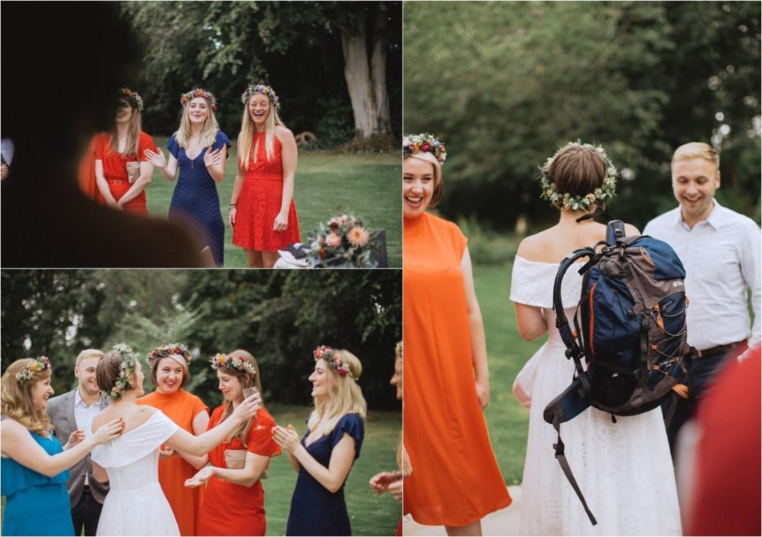 Colourful sheep farm wedding bridesmaids by Fox & Bear Photography