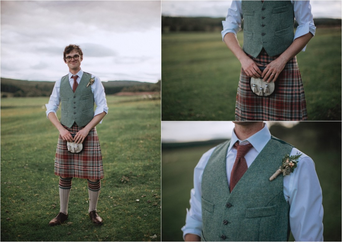 The groom Col in his kilt by Fox & Bear Photography