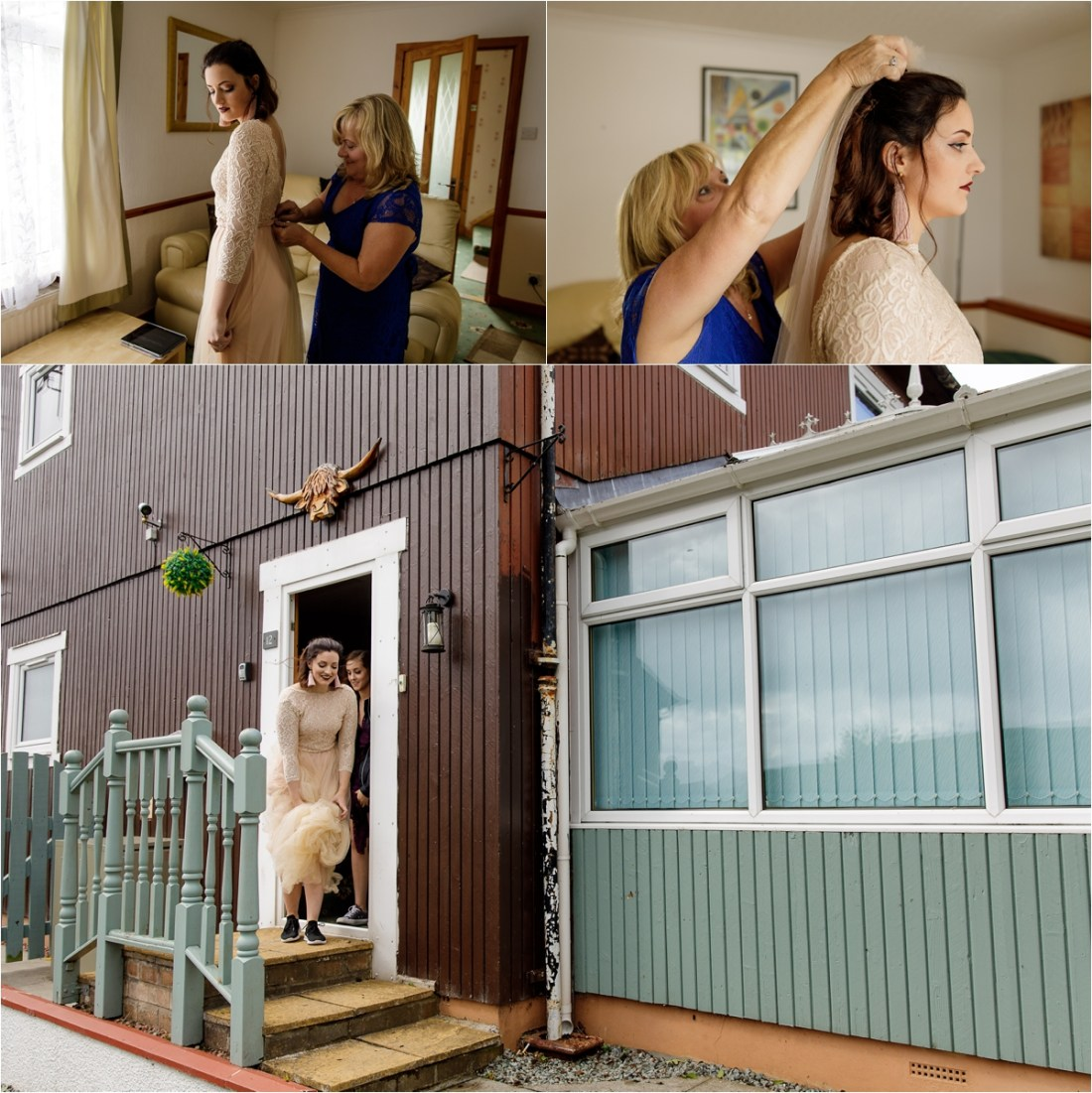 The bride leaves the holiday apartment for her Isle of Skye wedding in Scotland