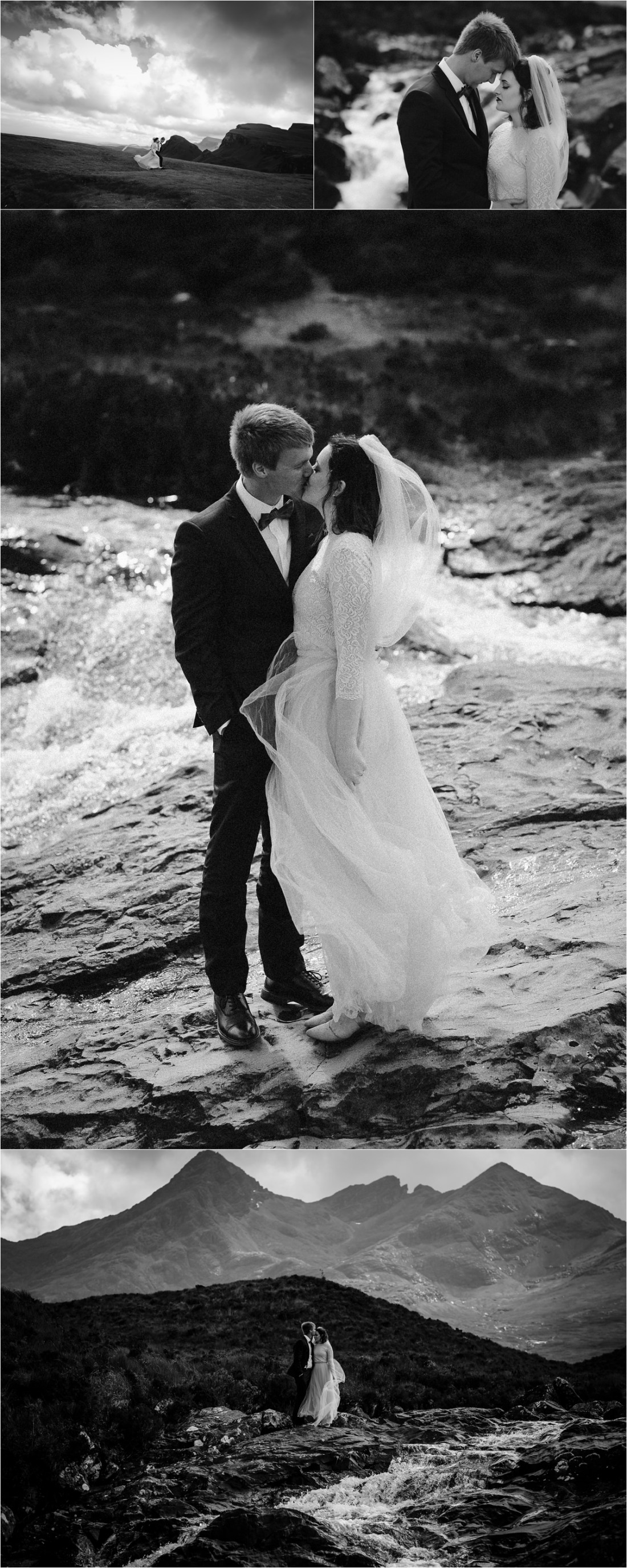 Black and white pictures of the bride and groom by a waterfall on the Isle of Skye by Lynne Kennedy Photography