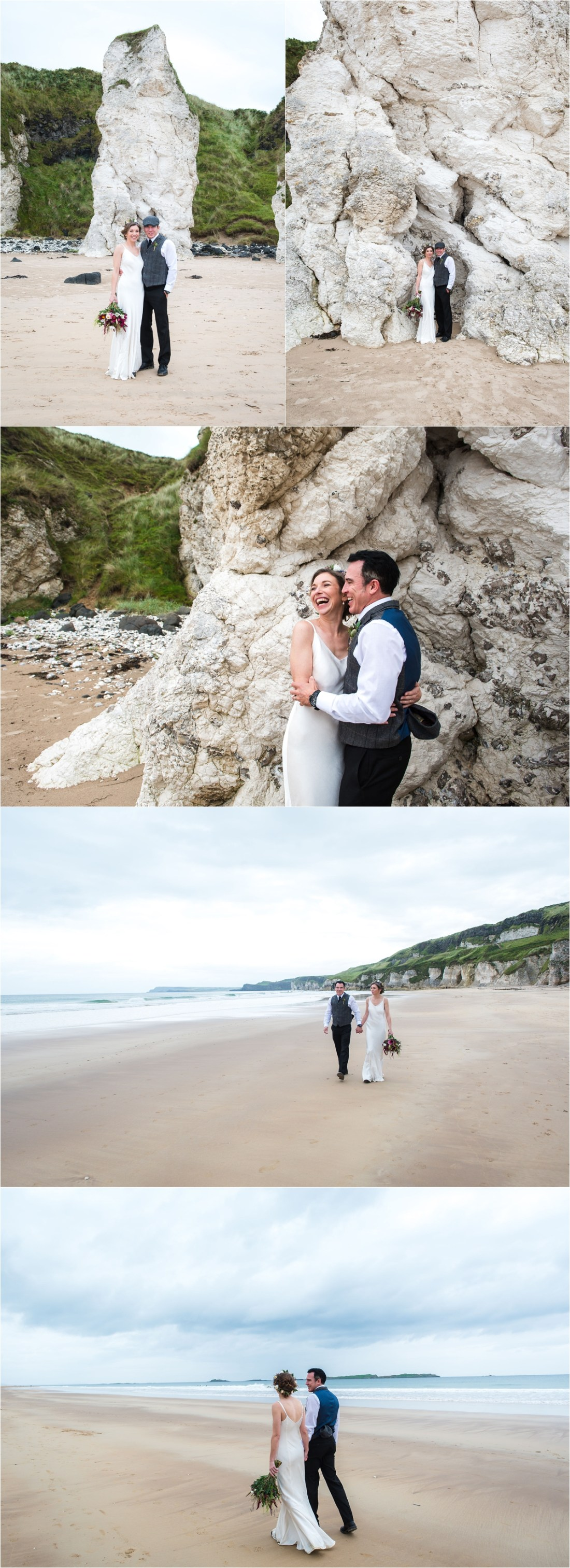 Bride & groom walk along the beach in Northern Ireland by Collette Creative