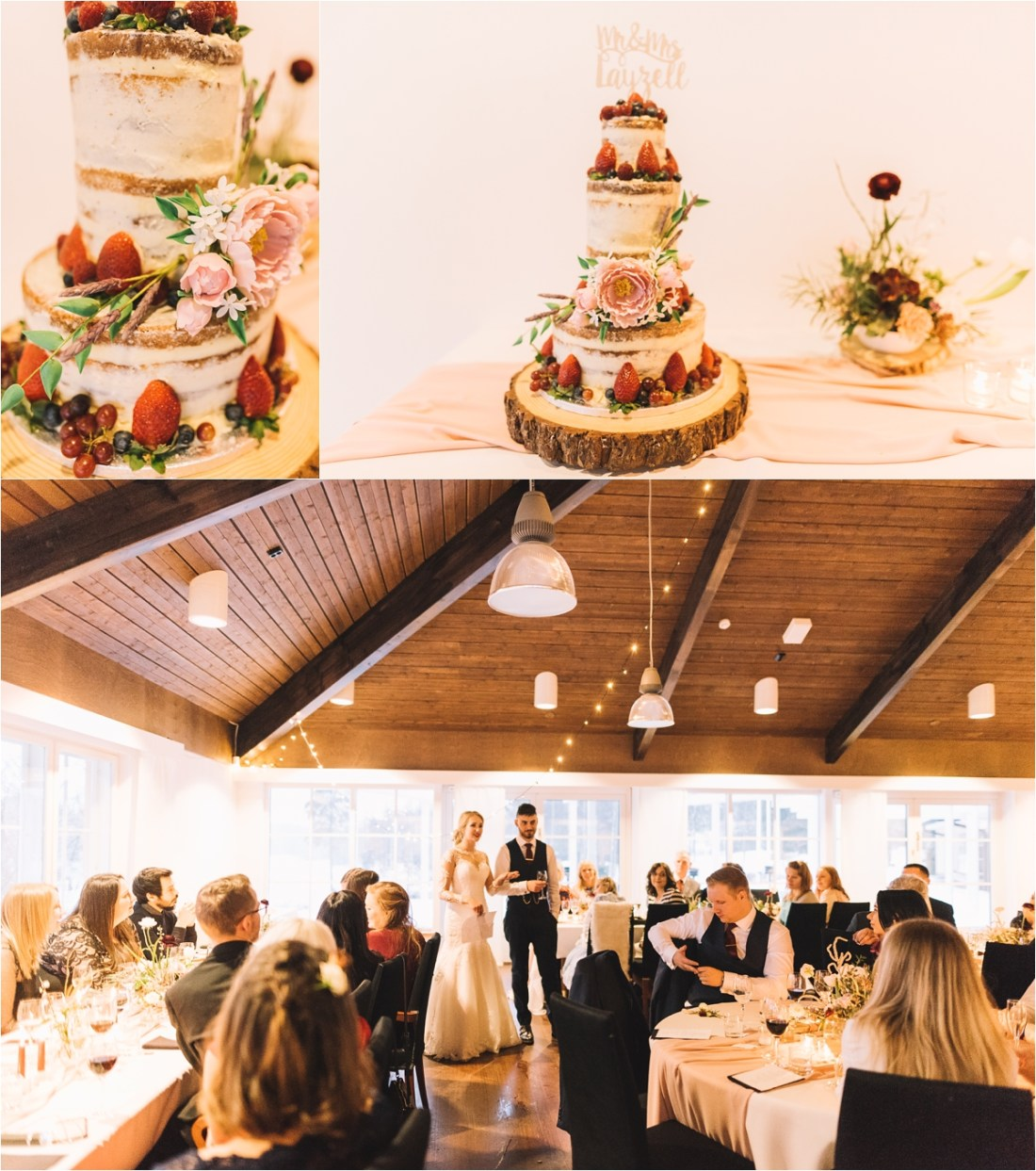 Winter wedding cake for a wedding in Finland by Lucie Watson Photography