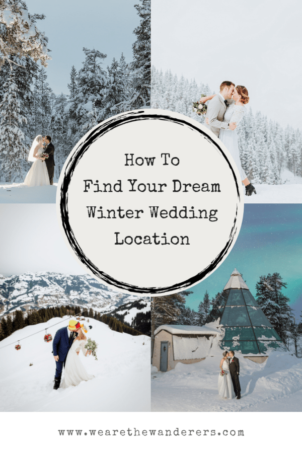 Pinterest graphic find your dream wedding location on We Are The Wanderers