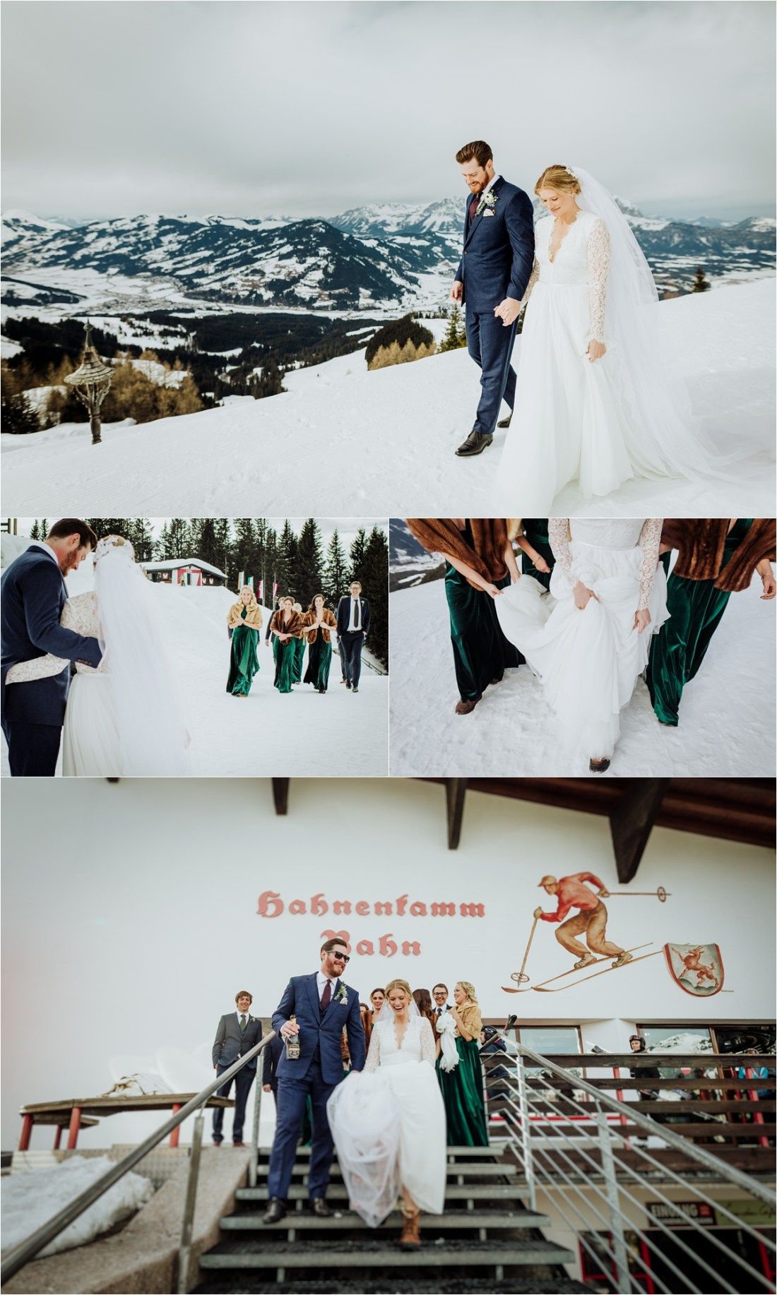 Bride and groom at the top of the Hahnenkamm ski run by Wild Connections Photography