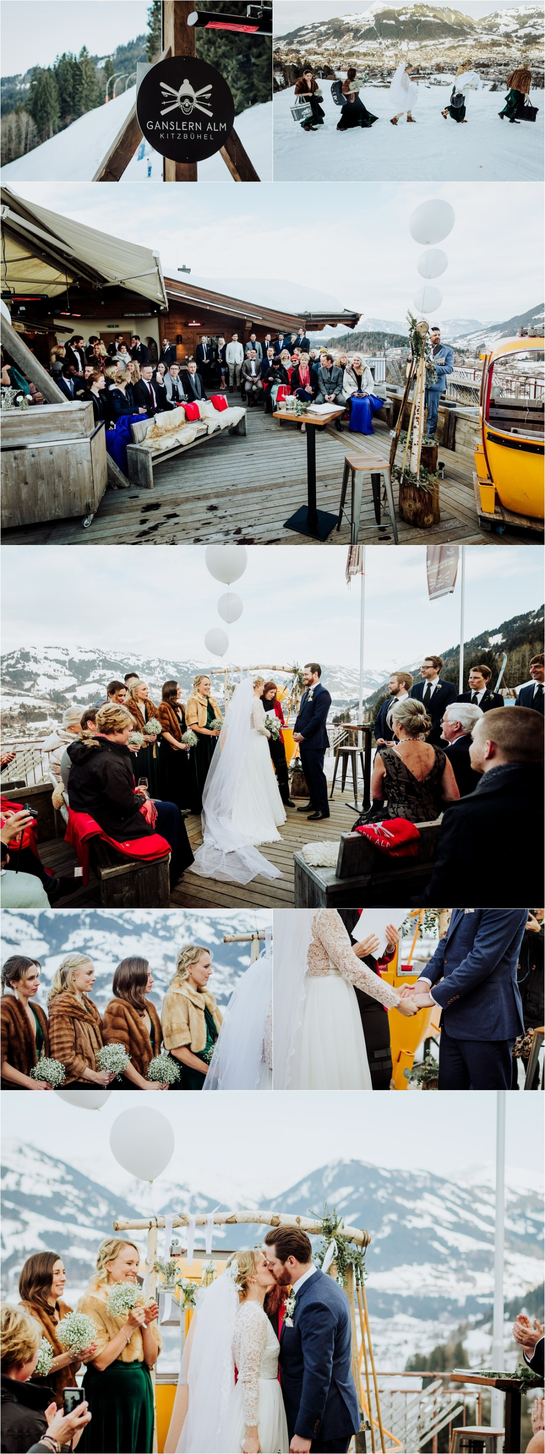 A winter wedding ceremony at the Ganslern Alm in Kitzbühel by Wild Connections Photography