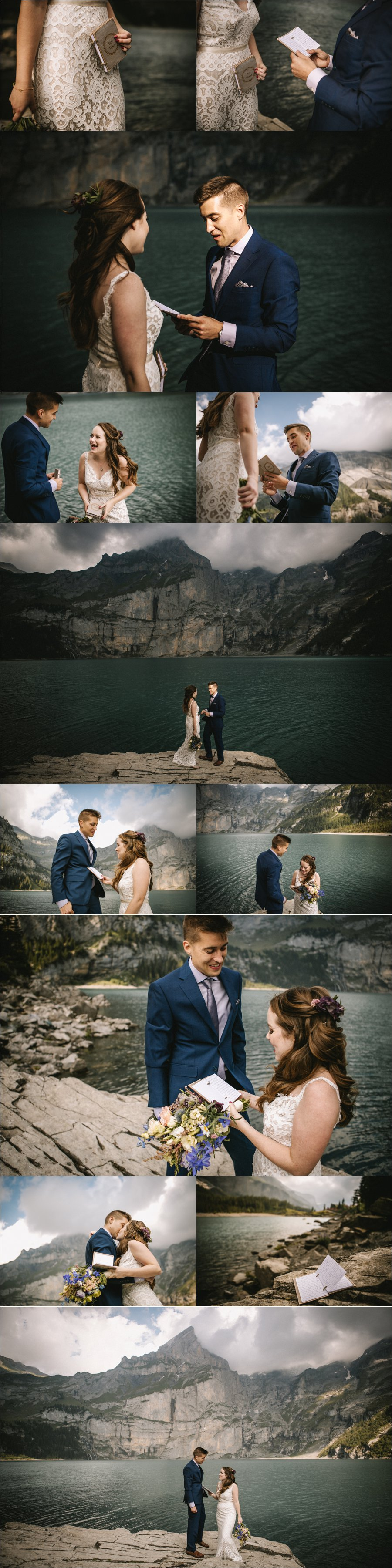 An elopement ceremony in the Swiss Alps, the couple read their hand-written vows to one another by Bendik Photography
