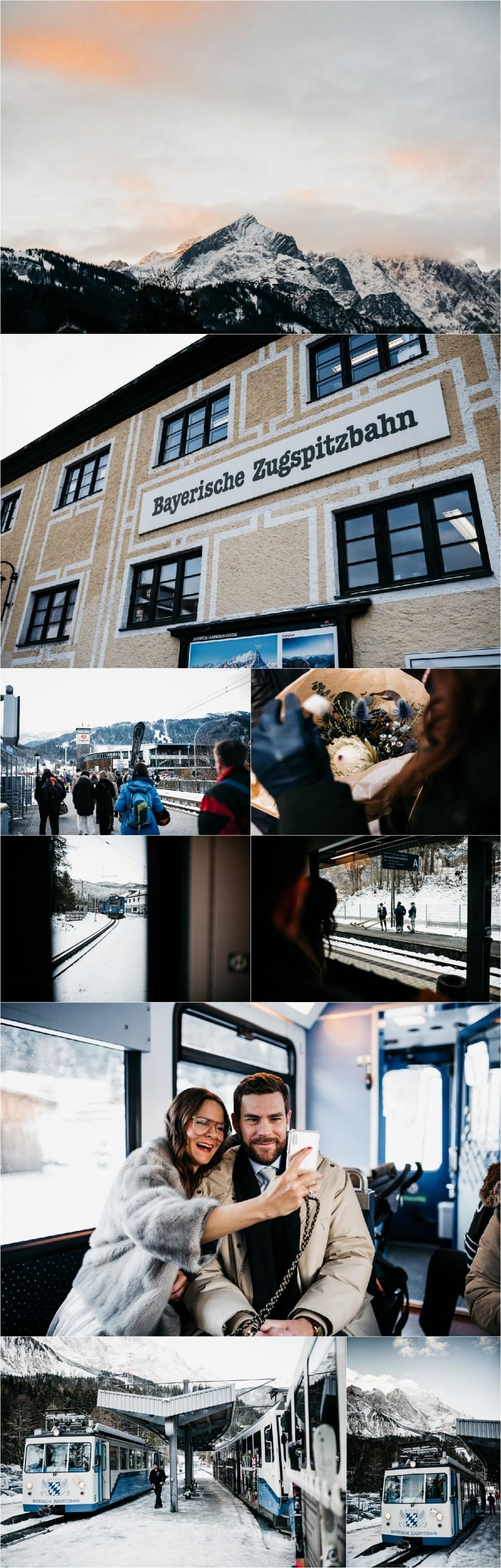 The Bride and Groom ride the Zugspitzbahn in Garmisch Partenkirchen by Aneta Lehotska