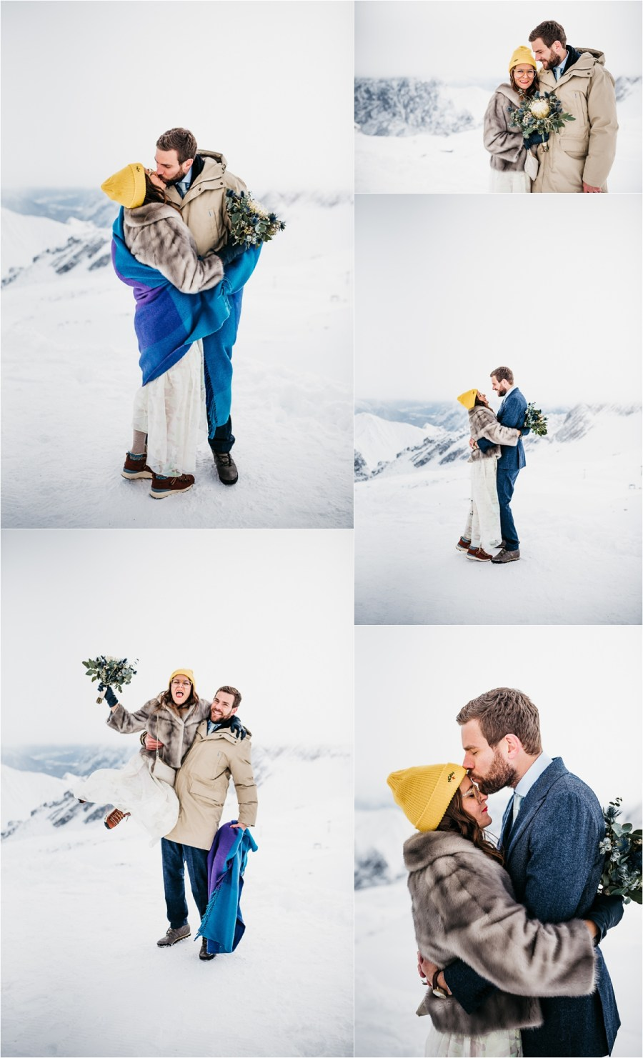 Bride and groom pictures on the snow on the Zugspitze by Aneta Lehotska
