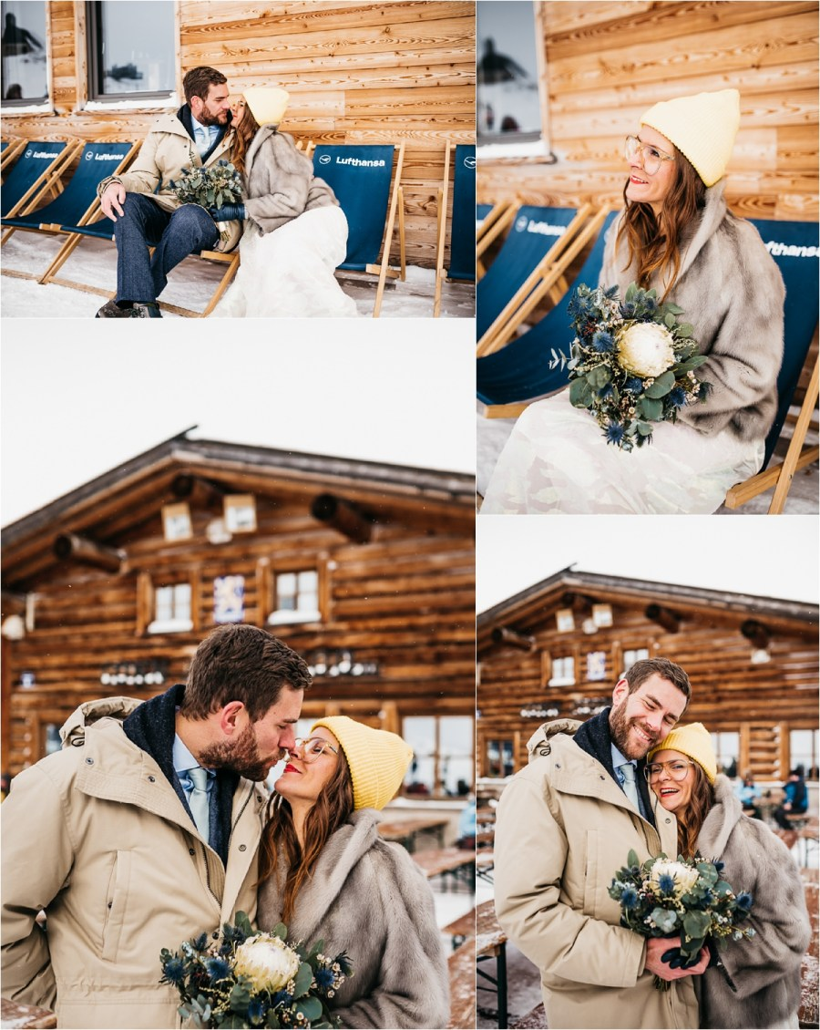 Bride and groom warm up outside a mountain hut on the Zugspitze, Germany's highest mountain by Aneta Lehotska