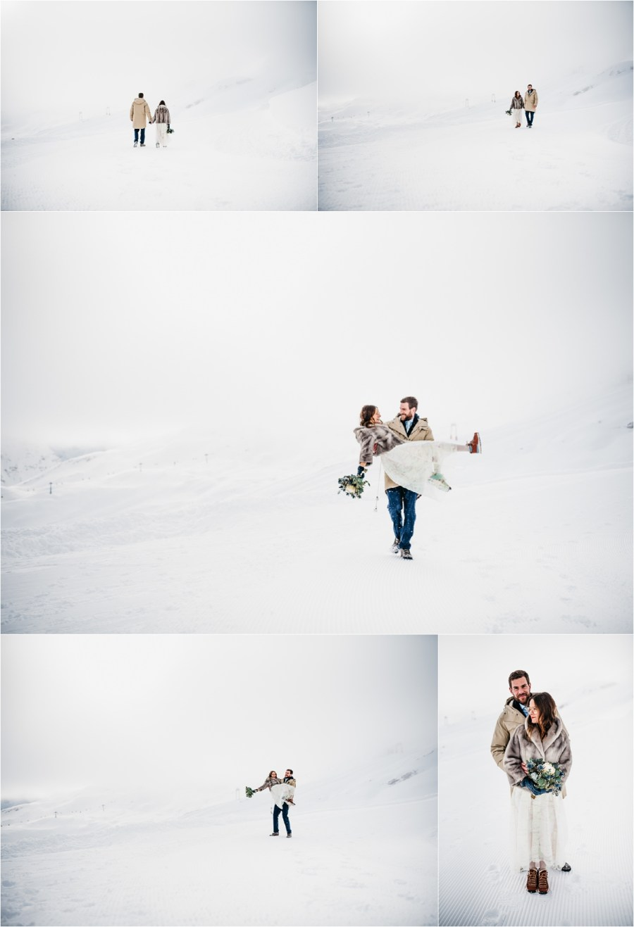 The bride and groom have fun in the snow after their winter wedding on the Zugspitze by Aneta Lehotska