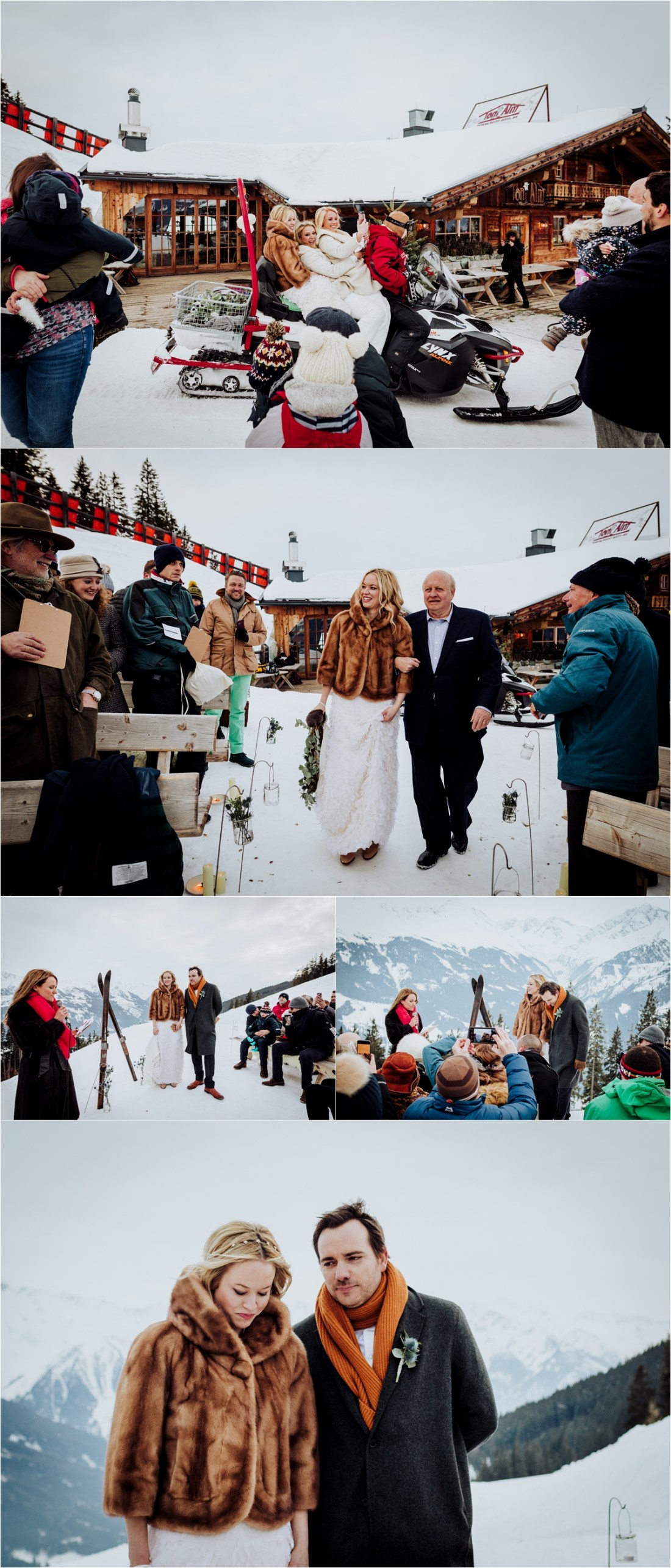The bride arrives at her mountain wedding ceremony by ski-doo by Wild Connections Photography