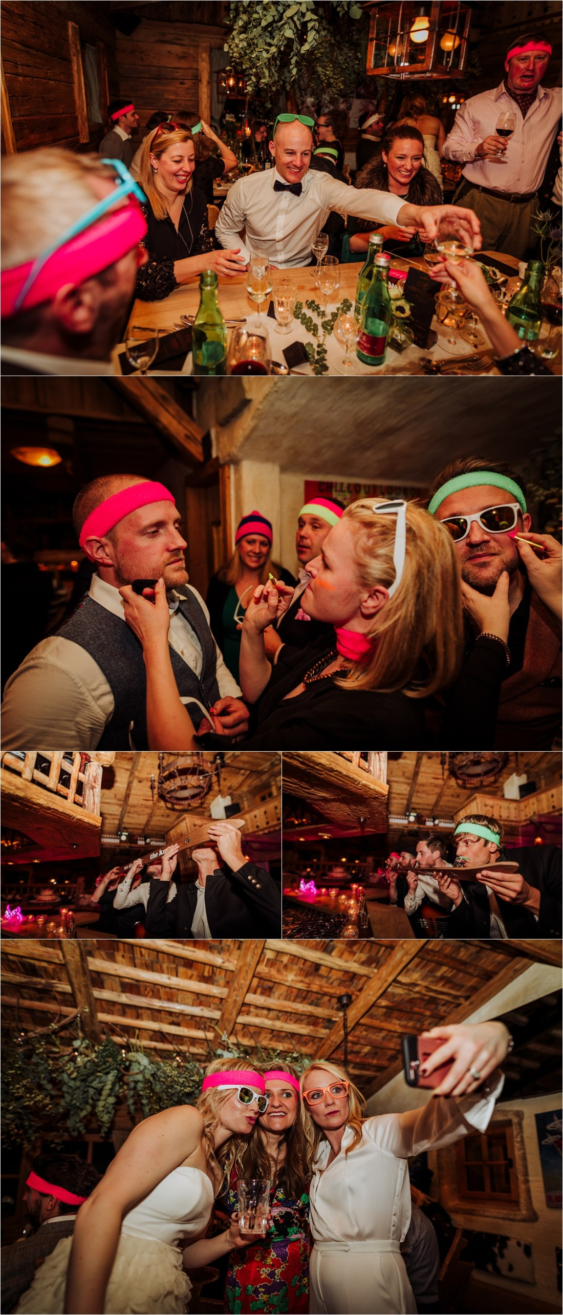 Neon headbands and face paints for crazy apres-ski wedding reception in Austria by Wild Connections Photography
