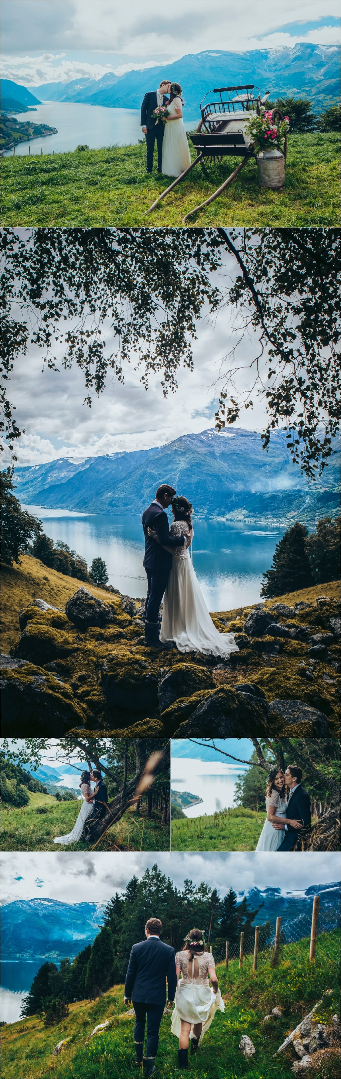 The bride and groom kiss in a meadow overlooking Hardanger Fjord in Norway next to a vintage cart by Fotograf Lene Fossdal