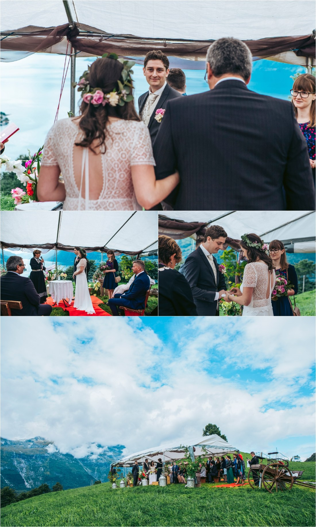 A wedding ceremony under a canopy in a field overlooking Hardanger Fjord in Norway by Fotograf Lene Fossdal
