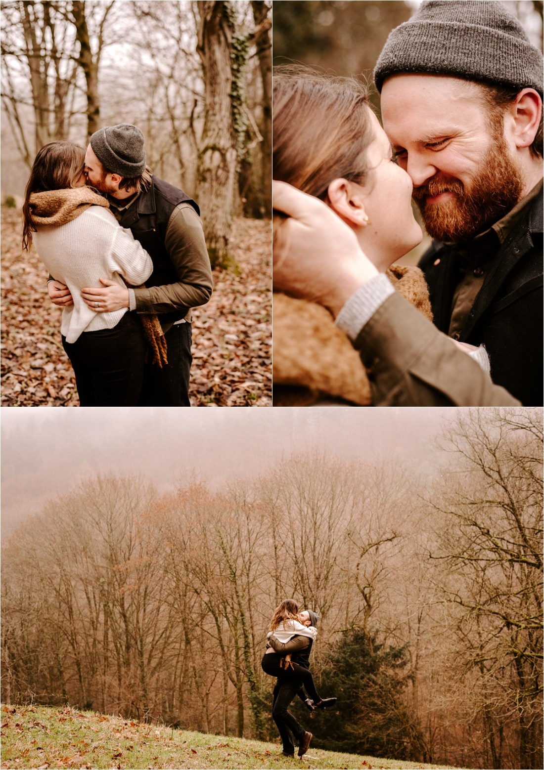 An engaged couple kiss amongst the Autumn leaves in Heidelberg Germany by Courtney Lynn Photography