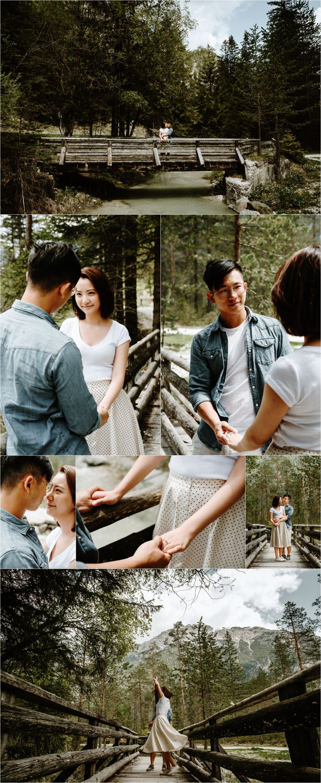 Engagement shoot with a Chinese couple on a bride in the Dolomites. Photo by Wild Connections Photography
