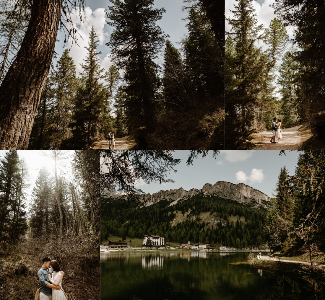 An engaged couple explore the forest around Lago Misurina by Wild Connections Photography